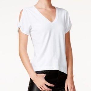 🎁CHELSEA SKY White Short Sleeve V Neck Tee, Med